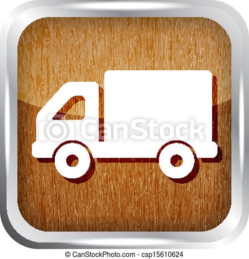 dřevěný, knoflík, podvozek, neposkvrněný, ikona - csp15610624