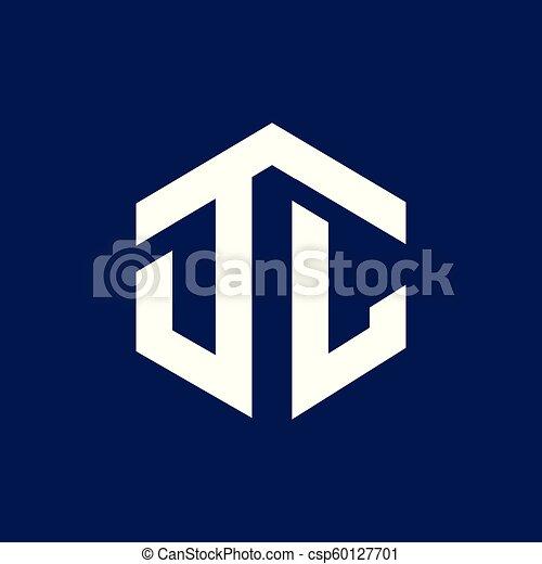 D L Initial Letter Hexagonal Logo Vector