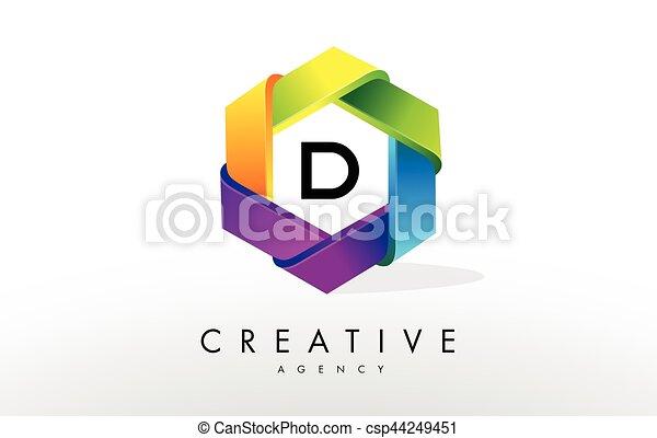 D Letter Logo. Corporate Hexagon Design - csp44249451