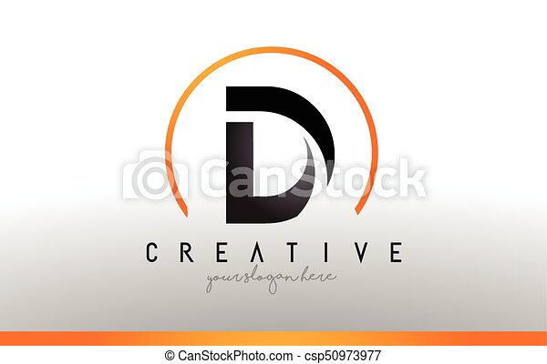 d letter logo design with black orange color cool modern icon template csp50973977