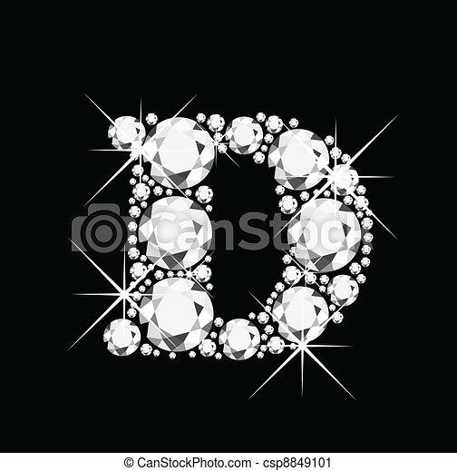 D letter with diamonds - csp8849101