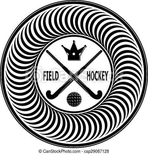 D1504 22p2n4 Eps Badge Field Hockey On A White Background Vector
