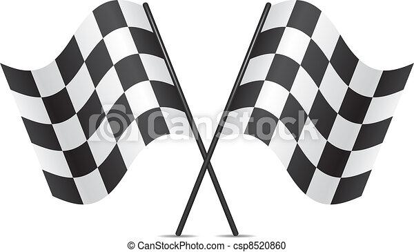 da corsa, vettore, bandiere - csp8520860