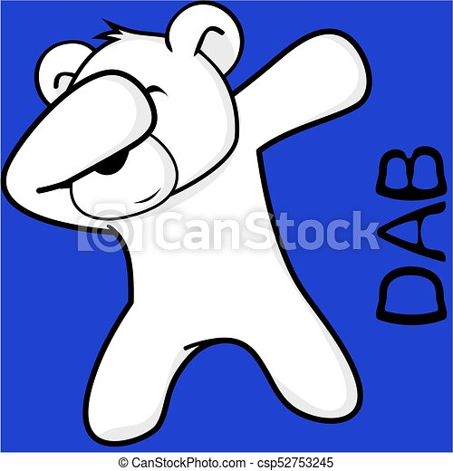 Dab Dabbing Pose Polar Bear Kid Cartoon