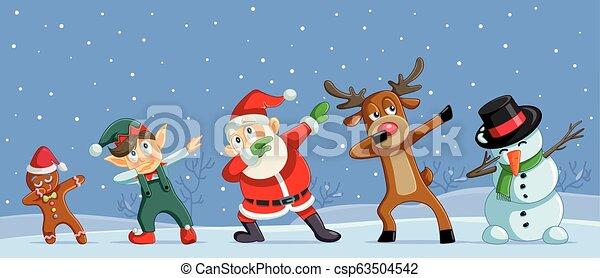 Christmas Dancing Cartoon.Dabbing Christmas Cartoon Characters Funny Banner