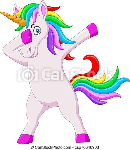 dabbing, lindo, caricatura, unicornio, caballo, bailando - csp76640903