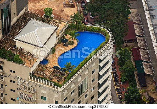 dach, hotel, luxus, luftaufnahmen, teich, ansicht - csp3179832