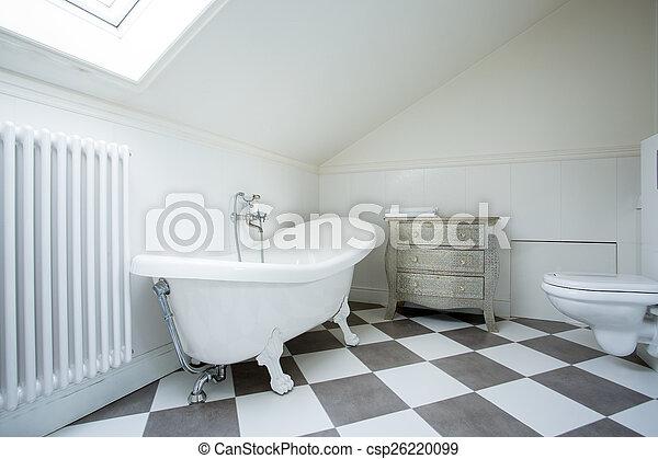 Helles Badezimmer Auf Dem Dachboden Blick Auf Das Helle