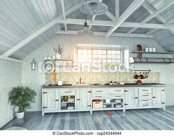 Küche Dachgeschoss | Dachgeschoss Kueche 3d Dachgeschoss Insel Modern Concept