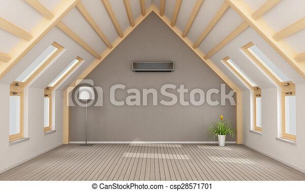 dachgeschoss, modern, ohne, möbel