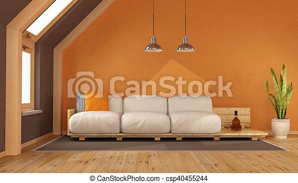 Dachgeschoss, Wohnzimmer, Orange   Csp40455244