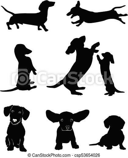 Dachshund 1 Eps Silhouettes Of Dachshunds Vector Illustration