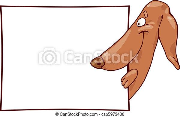 Dachshund dog and card - csp5973400