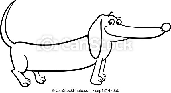dachshund dog cartoon for coloring - csp12147658
