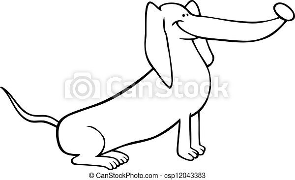 Dachshund Dog Cartoon For Coloring Black And White Cartoon