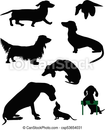 dachshund silhouettes of dachshunds vector illustration