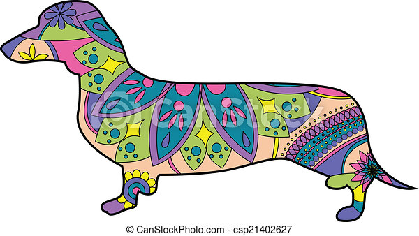 vector illustration of dachshund vector illustration search rh canstockphoto com free animated dachshund clipart Dachshund Silhouette Template