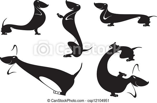 dachshund silhouettes - csp12104951