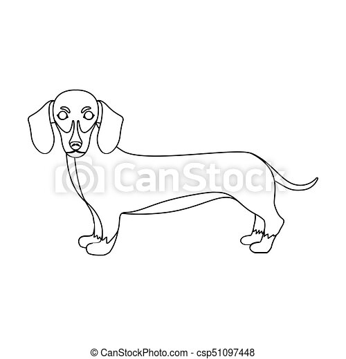 Dachshund Single Icon In Outline Style Dachshund Vector Symbol