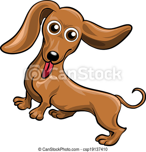 funny illustration with dachshund drawn in cartoon style vector clip rh canstockphoto com Dachshund Art Dachshund Images Free