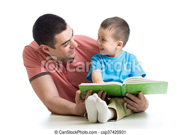 dad and son kid reading together daddy and kid son read together