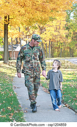 Dad and Son Walking - csp1204859