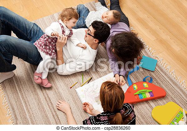 dad daughter playing group five - csp28836260