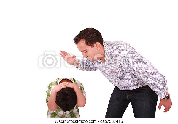 Dad scolding his son, father with son isolated on white - csp7587415