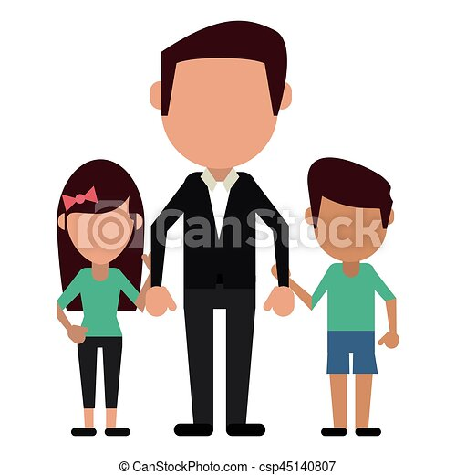 Dad With Daughter Son Holding Hands Vector Illustration Eps 10