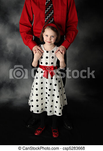 Daddy and daughter dressed up holding hands - csp5283668