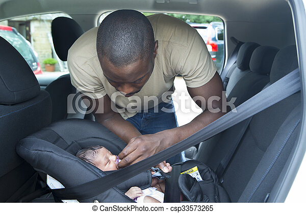 Daddy and Daughter in the car - csp33573265