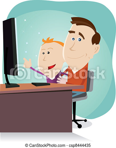 Daddy and son surfing on the net - csp8444435