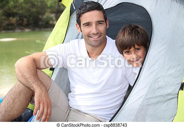 Daddy took me camping. - csp8838743