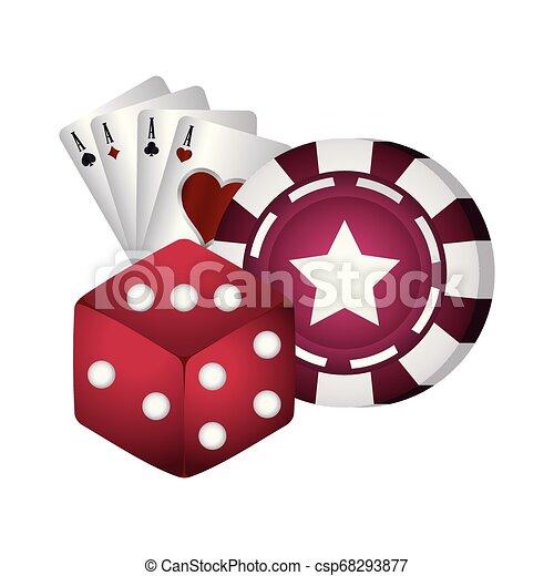 Tarjetas de póquer casino y cartas de as - csp68293877