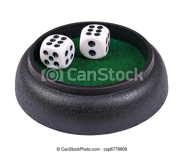 Los dados de juego, doble seis, aislados - csp6779809