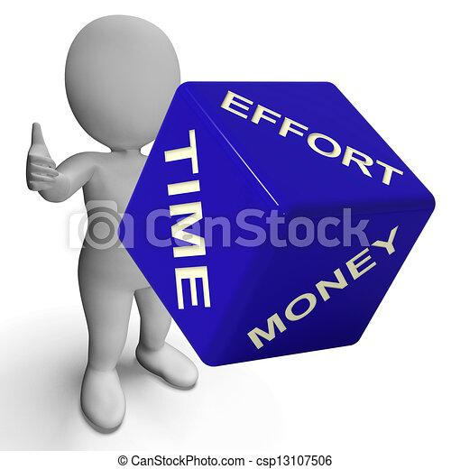 Effort tiempo dados de dinero representando negocios - csp13107506