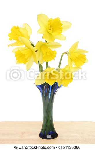 Daffodils In A Vase Daffodil Flowers In A Blue Fluted Vase On A