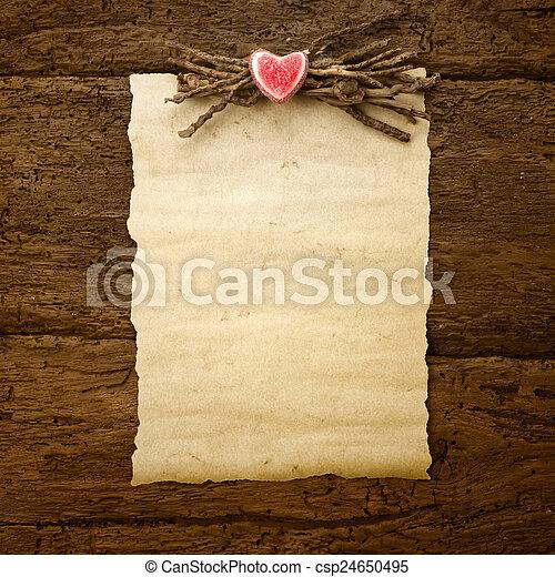 dag, of, perkament, trouwfeest, valentine - csp24650495