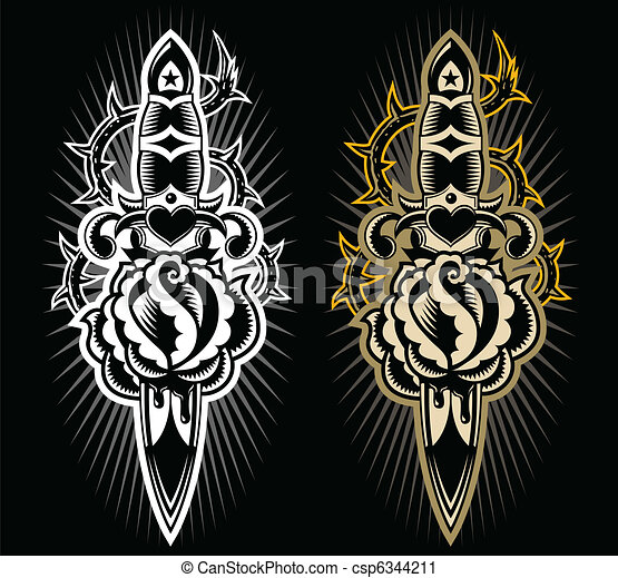 Dagger with rose design - csp6344211