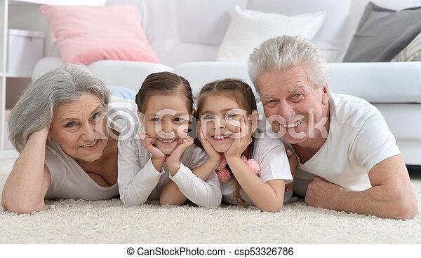 Glückliches Senior Paar mit Enkeln zu Hause - csp53326786