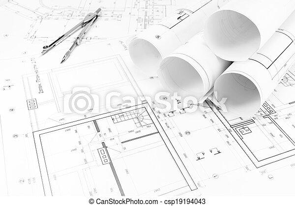 Daheim, zeichnung, pläne, kompaß. Pläne, boden, technisch ...