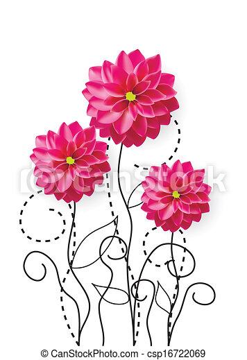Dahlia Flowers Drawing Vector