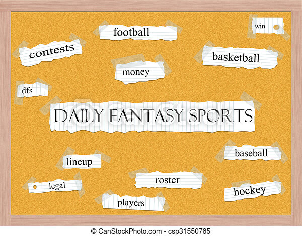 Daily Fantasy Sports Corkboard Word Concept - csp31550785