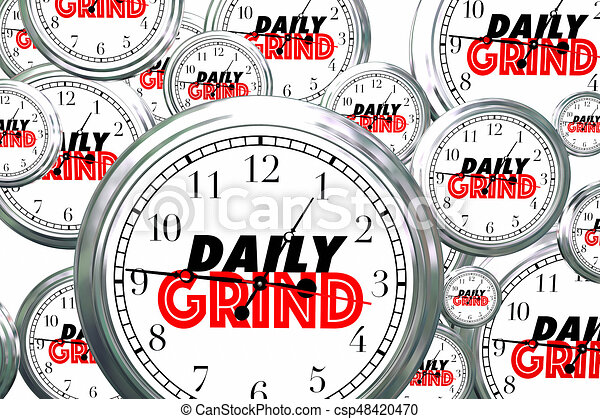 Daily Grind Clocks Flying Wasting Time Routine Ritual 3d Illustration - csp48420470