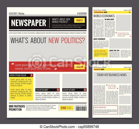 Daily Newspaper Design Template Daily Newspaper Colored Template