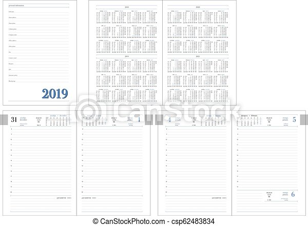 Daily Planner For 2019 New Year With Calendar Template For Layout