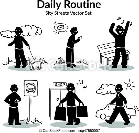 daily routine activities set daily routine activities set of man
