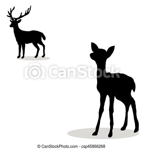 Daino Silhouette Cervo Sfondo Nero Bianco Daino Silhouette
