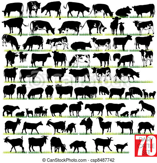 Dairy Cattle Silhouettes Set - csp8487742