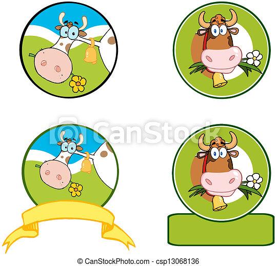 Dairy Cow Cartoon Banner. Collection - csp13068136